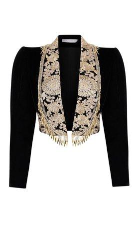 Embroidered Velvet Cropped Jacket by Raisa Vanessa | Moda Operandi