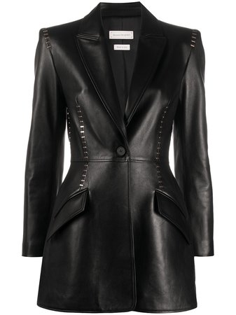 Alexander McQueen Stapled Leather Black Blazer Jacket - Farfetch