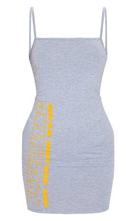 Prettylittlething Grey City Strappy Bodycon Dress | PrettyLittleThing USA
