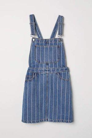Denim Bib Overall Dress - Blue