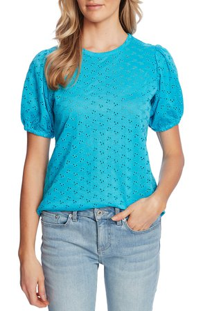 CeCe Puff Sleeve Eyelet Top | Nordstrom