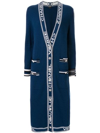 CHANEL PRE-OWNED cashmere logo straps long coat