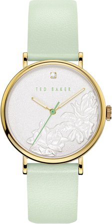 Phylipa Flowers Leather Strap Watch, 37mm