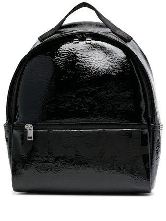 Diesel wet-look logo print backpack - FARFETCH