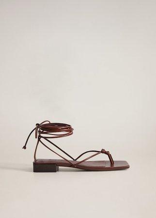 Leather straps sandals - Women | Mango USA brown