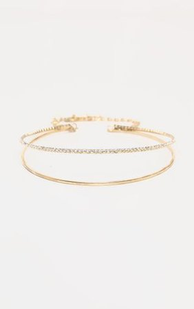 Gold Diamante Double Wrap Choker Necklace   PrettyLittleThing