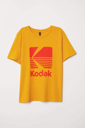 T-shirt with Printed Design - Yellow
