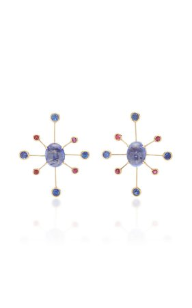 18K Gold, Sapphire And Ruby Earrings by Yi Collection | Moda Operandi
