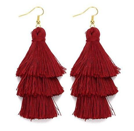 dark red tiered tassel earrings