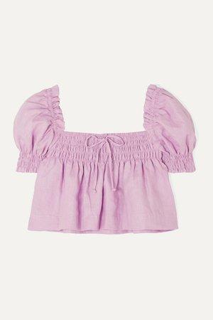 Faithfull The Brand | Lilla cropped shirred linen top | NET-A-PORTER.COM