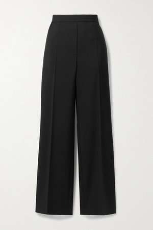 Wool And Mohair-blend Straight-leg Pants - Black