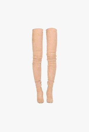 nude pink balmain boots