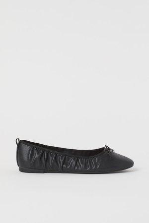 Gathered Ballet Flats - Black