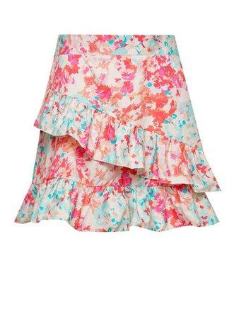 Pink Watercolour Poplin Ruffle Mini Skirt | Miss Selfridge