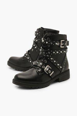 Stud Detail Chunky Hiker Boots | Boohoo