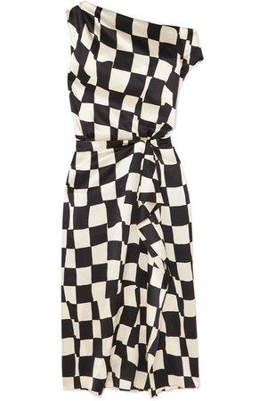Oscar de la Renta | One-shoulder checked silk-satin midi dress | NET-A-PORTER.COM