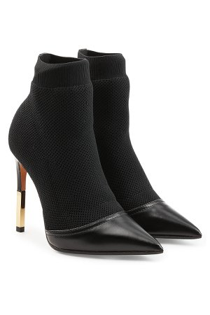 Stiletto Ankle Boots in Leather and Mesh Gr. IT 39.5