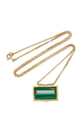 Roxy Green Eye 18K Gold Malachite Necklace by Orit Elhanati   Moda Operandi
