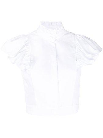 Alexander McQueen Cropped Ruffle Sleeve Blouse - Farfetch