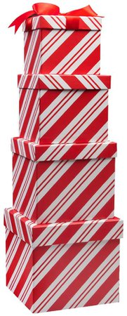 Amazon.com: 4 Boxes Candy Cane Christmas Nesting Boxes with Lids in 4 Assorted Sizes for Holiday Decorative Wrapping: Home & Kitchen