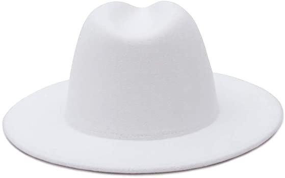 GEMVIE Mens Womens Wool Fedora Panama Hats Wide Flat Brim Trilby Felt Hat Party Gentleman Hat White L=US 7 1/2 at Amazon Men's Clothing store
