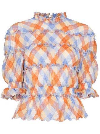 blue orange white striped shirt