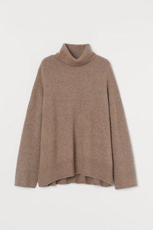 Wool-blend Turtleneck Sweater - Beige