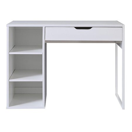 White Writing Desk with Drawer & Storage Unit