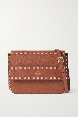 Garavani Rockstud Textured-leather Shoulder Bag - Tan