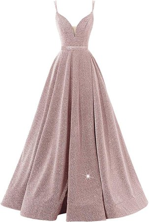 Women's Glittery Spaghetti V-Neck Prom Dresses Long Side Split Formal Evening Gowns(Blush, 8) at Amazon Women's Clothing store