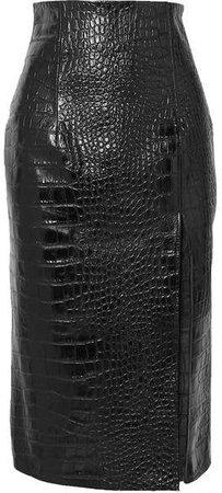 Lipton Croc-effect Glossed-leather Midi Skirt - Black