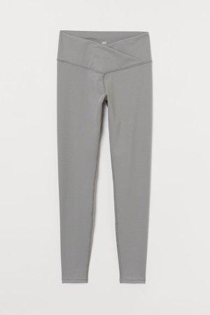 Wrapover-waist Sports Leggings - Green