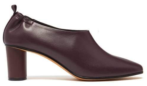 Gray Matters - Micol Block Heel Leather Pumps - Womens - Burgundy