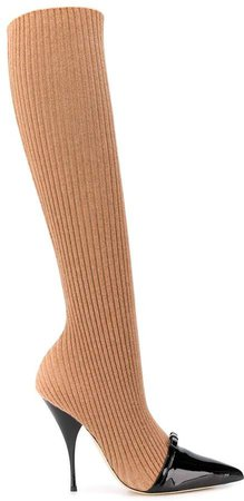 Ribbed Knit Sock Boots