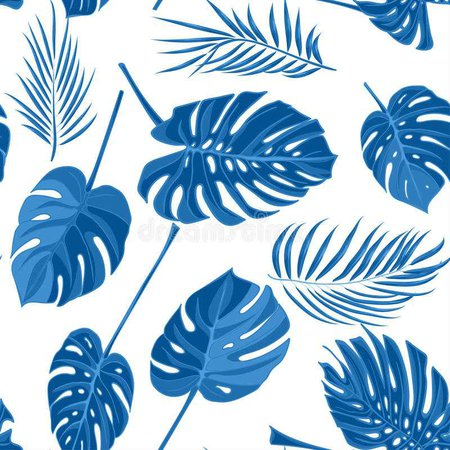 Seamless Hand Drawn Tropical Pattern With Palm Leaves In Blue Color, Jungle Exotic Leaf On White Background Stock Illustration - Illustration of monstera, bamboo: 94316981