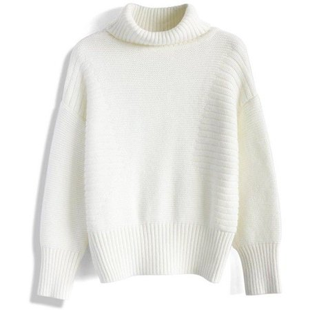 white jumper turtleneck