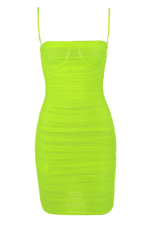 *clipped by @luci-her* 'Ella' Neon Green Ruched Organza Mesh Mini Dress