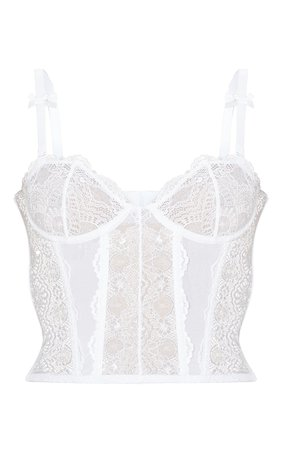 White Lace Satin Panelled Crop Top   PrettyLittleThing USA
