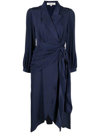 Shop blue DVF Diane von Furstenberg Stella faux-wrap midi dress with Express Delivery - Farfetch