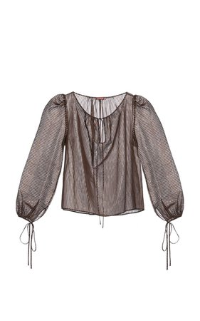 Jeannie Metallic-Striped Chiffon Top by Lena Hoschek | Moda Operandi