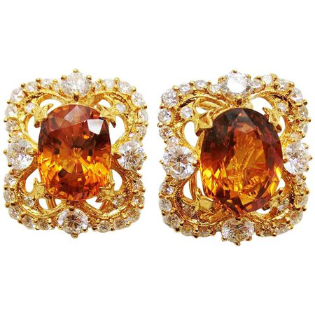 18 Karat Gold Victorian Yellow Sapphire and Diamond Clip-On Earrings For Sale at 1stDibs