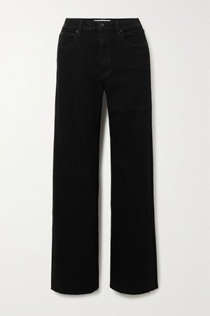 Black Grace frayed high-rise wide-leg jeans   SLVRLAKE   NET-A-PORTER