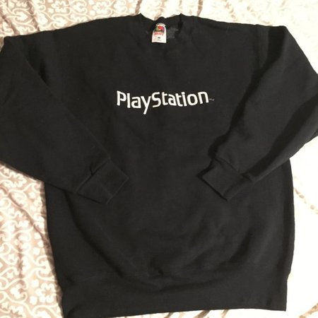Vintage black PlayStation crew neck sweatshirt 🎮 unisex L a - Depop