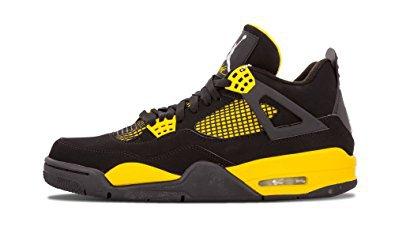 "Nike Mens Air Jordan 4 Retro ""Thunder"" Black/White-Tour Yellow"