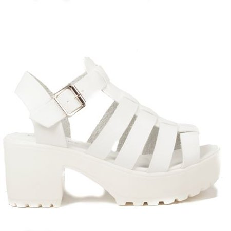 Korkys Shoes - chunky block heel sandal - d13 white