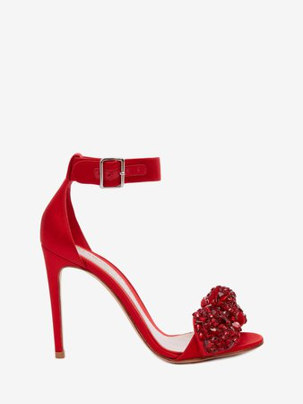 Women's Lust Red Bow Embroidered Sandal | Alexander McQueen