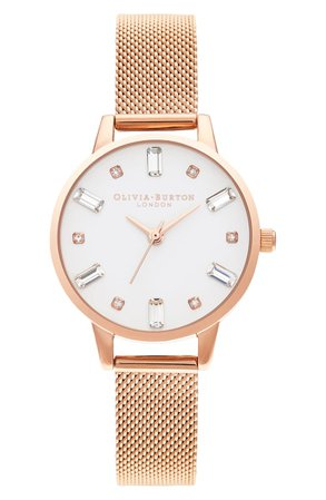 Olivia Burton Bejewelled Mesh Strap Watch, 30mm | Nordstrom