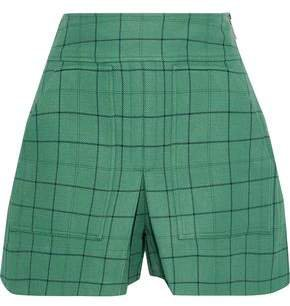 Pleated Checked Twill Shorts