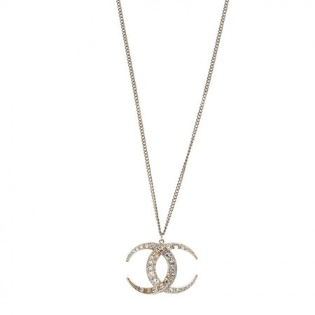 CHANEL Baguette Crystal Moon CC Necklace Gold 473747