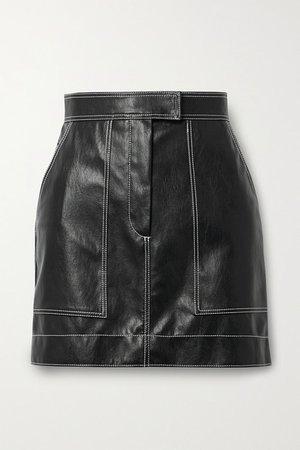 Topstitched Faux Leather Mini Skirt - Black